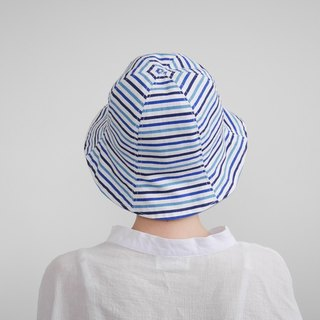 Blue stripes hit color double-sided fisherman hat