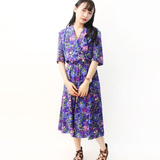 Vintage Japanese Adults Purple Flowers Floral Short Sleeve Vintage Dress Vintage Dress