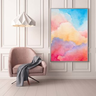 Romantic Cloud Watercolor Art Print.Rainbow Pink Sky Minimalist Wall Art.