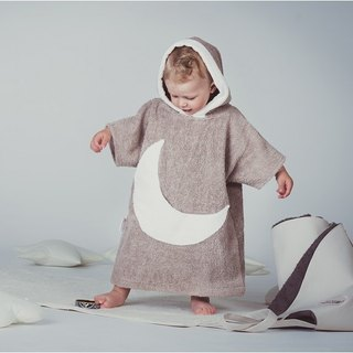 Brown bath robe with white moon pocket for kids