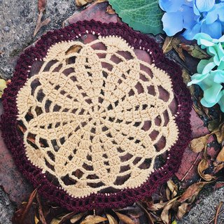Hand made - Coffee Sugar Heart - Lace cushion