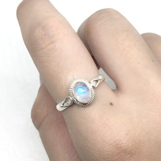 Moonlight stone 925 sterling silver elegant wind ring Nepal handmade mosaic production (style 3)