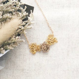 [Customized] hand-knitted three small flower necklaces autumn and winter series Tatting Earrings