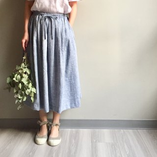 *Autumn light and shadow*Blue white lettering lined rope long skirt 100%Linen