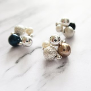 925 Silver spherical-Fresh Water Pearls-Japanese Cotton Pearls-Swarovski Crystal/Black Agate Earrings-Ear Clip-tricolor-sold as a pair