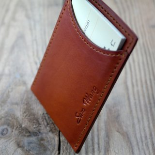APEE leather handmade ~ simple business card holder ~ plain light tea