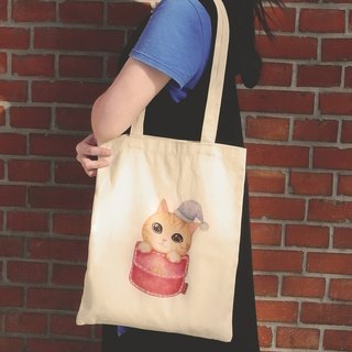 ChinChin hand-painted canvas bag cat - cat trick or treat bag