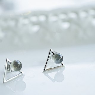 Grey Moonstone Triangle 925 silver earrings