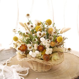 Afternoon in early summer. Dazzling yellow. Dry flower birthday flower ceremony
