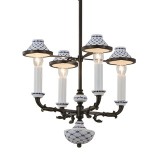 Blue and white porcelain black bronze 4 lamp chandelier