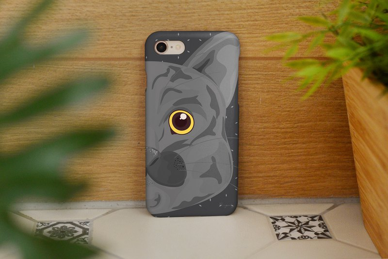 gray cat right face iphone case สำหรับ iphone 6, 7, 8, iphone xs , iphone xs max