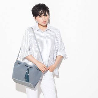 Mesheen light. Fashion mesh leather Shoulder Cikou bucket bag (blue)