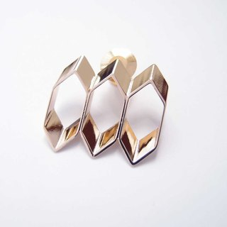 Honeycomb metal brooch