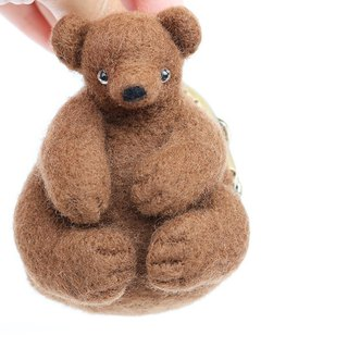 Wool Feather Animal Gold Coin Purse Forest Series - Brown Bear Taiwan Made Limited Manual