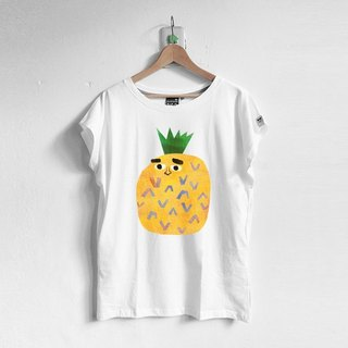[] BestFriend wide collar Long side pocket jacket / Giant Pineapple / 01-WHITE