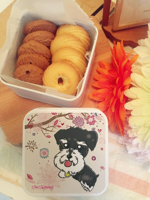 ‧ a small tin mini cookies [small dog models - snow Schnauzer] BraveMommy • Our hand-made desserts.