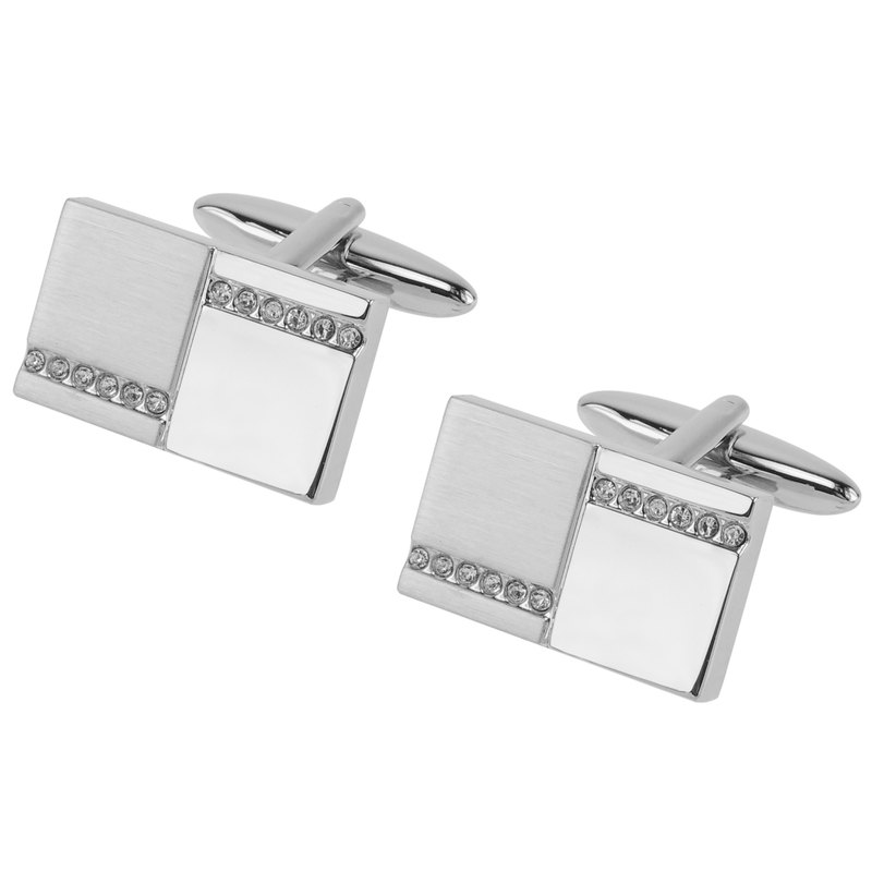Silver Two Tone Crystal Cufflinks