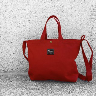 Monochrome A4 Triple Tote Bag - Red (Hand Shoulder Shoulder Tutorial/Book/Postman Bag)