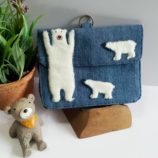 Mini bear hand made polar bear small bag card set / ID package set + leather rope exclusive