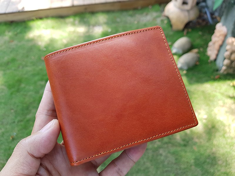 Leather Short Clip Neutral Short Clip Wallet Glossy Brown Free Engraving New Year Lucky Wallet