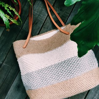 Hand-woven material package - linen fiber tote bag - ramie material