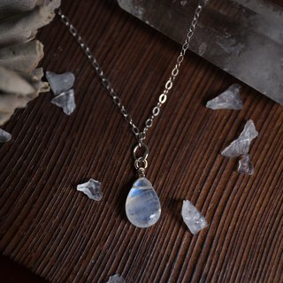 Ice teardrop blue moonstone 925 sterling silver clavicle necklace