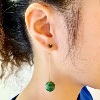 Bronze Handmade _ Natural Tourmaline + Malachite Activity Draped Ear Stud Earrings