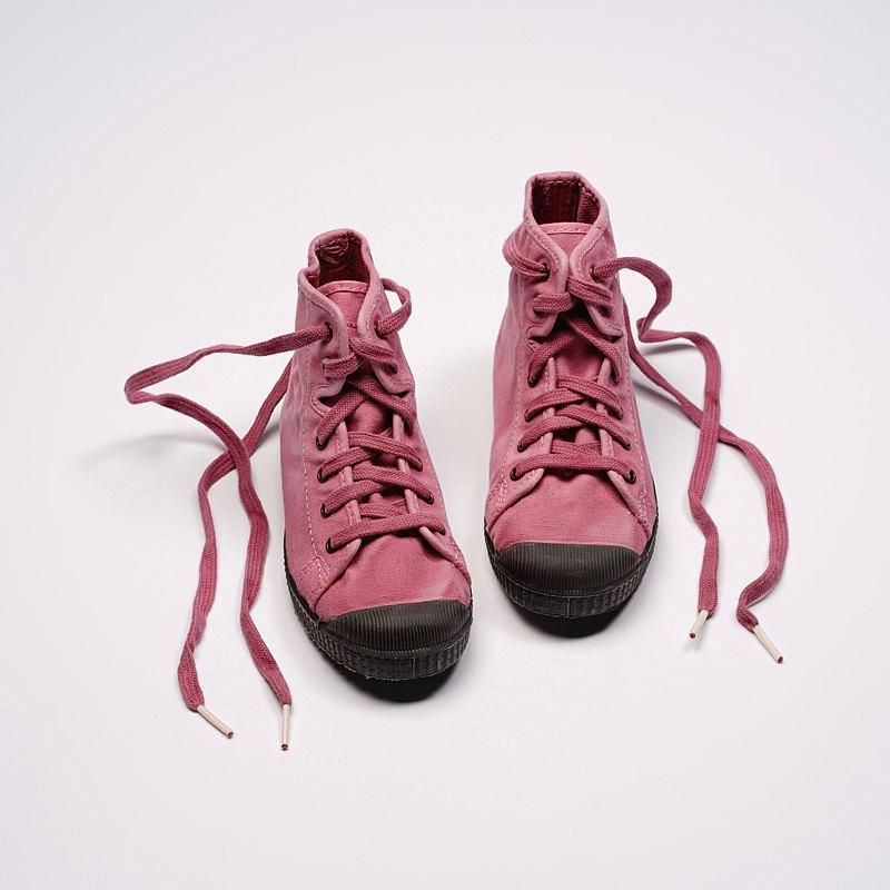 西班牙帆布鞋 CIENTA U61777 42 粉紅色 黑底 洗舊布料 童鞋 高筒