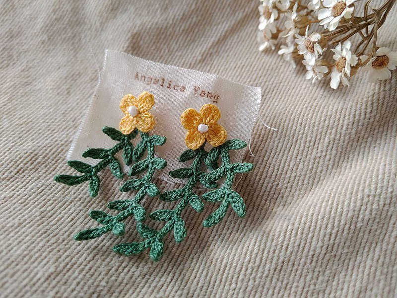 [Native series], story floret, crochet lace woven vine natural plant earrings