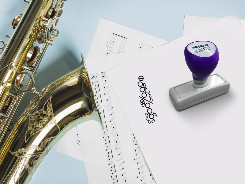 Self ink stamp for Saxophone, fingering and music theory, Music stamp.