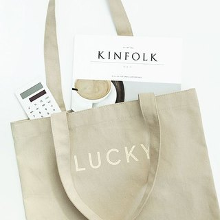 Out of Sale - Good Luck Letter Shoulder Tote - Linen Rice, GMZ02841