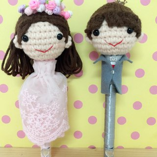 Chuchu hand-made shop pink dress head flower new signature pen