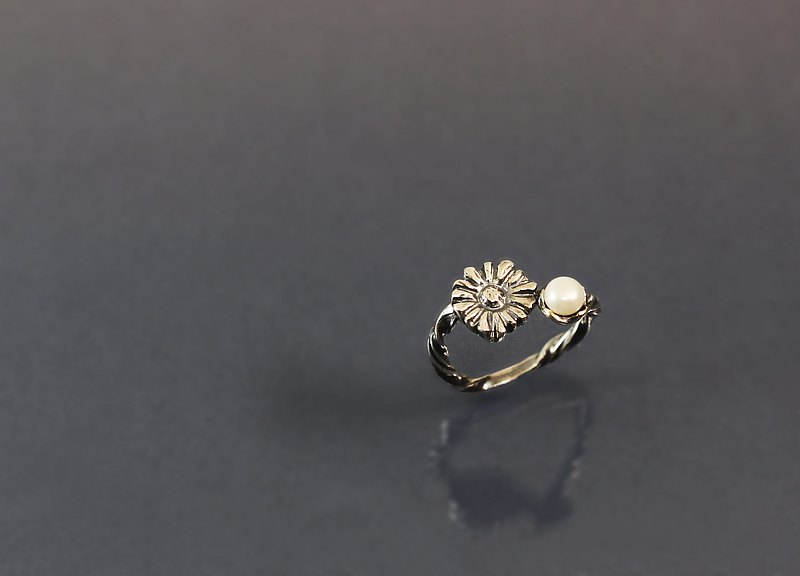 Image Series-Sun Flower Pearl 925 Silver Ring