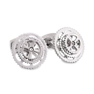 Silver Bicycle Gear Cufflinks
