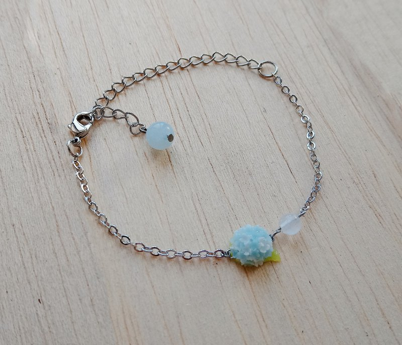 Blue and white hydrangea sterling silver bracelet
