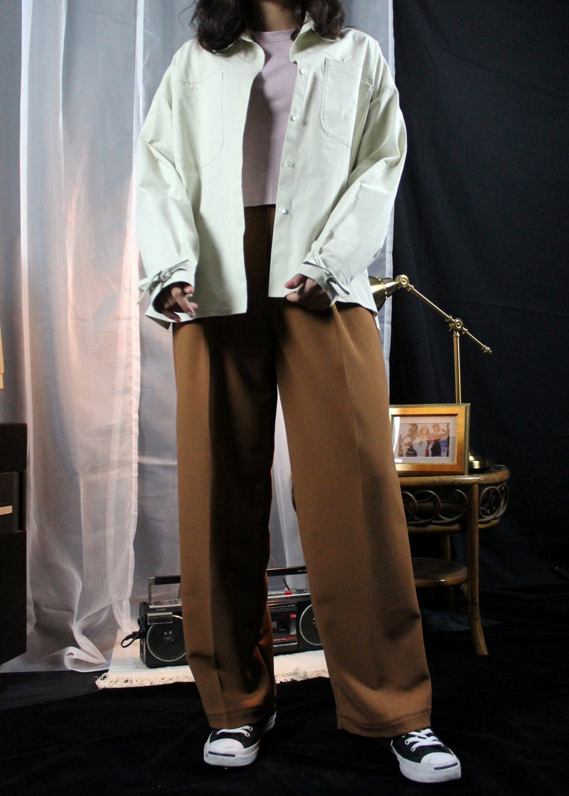 Droopy Pleated Pants-Caramel
