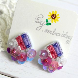 Qy.embroidery Candy Contrast Colorful Embroidered Handmade Stud Ear Clips Rhombus Light Purple & Pink