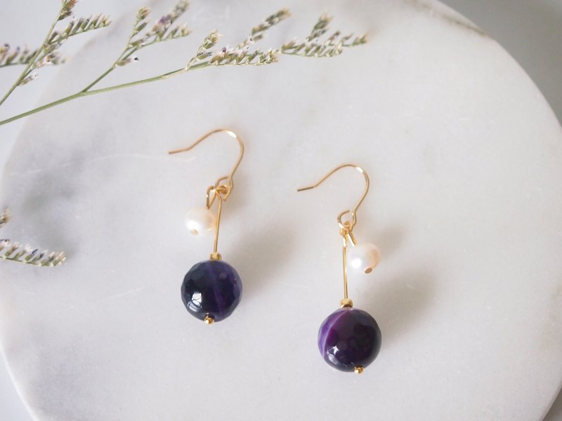 Anniewhere | Overcast | Purple Agate Pearl Earrings Ear Clips (without pierced ears)