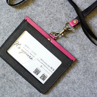 YOURS US Horizontal Document Holder (with Necklace) Grey Suede + Bright Peach Leather