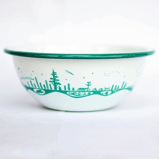 Forest & Waves enamel bowl / Forest Green