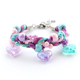 Purple/mint/pink braided bracelet with heart charms