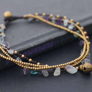 Rainbow Fluorite Layer Stone Strand Anklet Romantic Gypsy