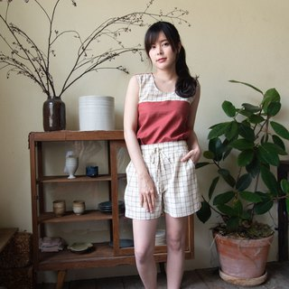 Linen Short Pants - Brown plaid