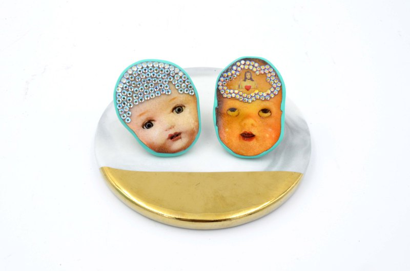 Doll head wood piece Swarovski crystal ring brass bottom can be adjusted size permanently refurbished and polished