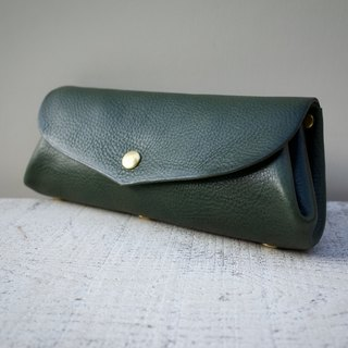 "Italian leather * Corocoro wallet ""fave"" L Moss green"