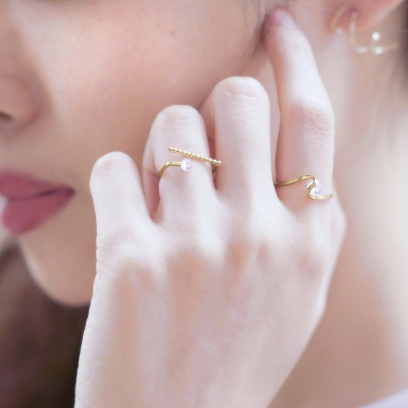 Geometric Mini Pearl 14k Alloy Ring Marigold Pearl Ring