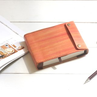 Minimal maple red dyed yak leather handmade notebook