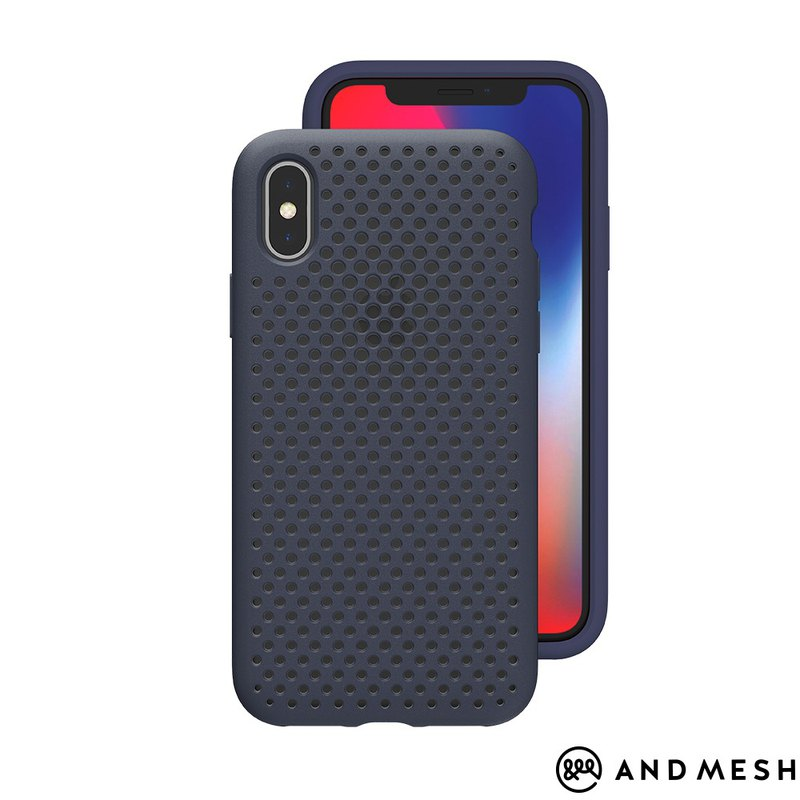 AndMesh-iPhone Xs Max dot soft crash protector - navy blue (4571384959261