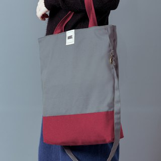 No printing color adjustable strap three canvas bag / shoulder / portable / Xiebei / gray + pink