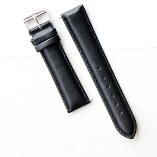 【PICONO】20-18mm black leather strap-Silver